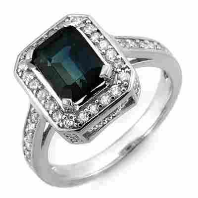 Genuine 3.10 ctw Sapphire & Diamond Ring 14K White Gold