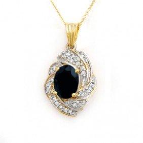 Genuine 3.88 Ctw Sapphire & Diamond Pendant 14K Gold -