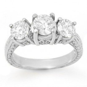 Natural 1.50 Ctw Diamond Ring 14K White Gold - L90735