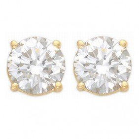 Natural 1.50 Ctw Diamond Stud Earrings 14K Yellow Gold