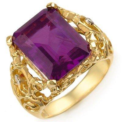 Genuine 8.03ctw Amethyst & Diamond Ring 10K Yellow Gold
