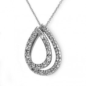 Natural 0.25 Ctw Diamond Pendant 14K White Gold - L9075