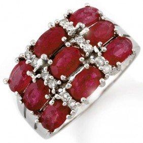 Genuine 3.15 Ctw Ruby & Diamond Ring 10K White Gold - L