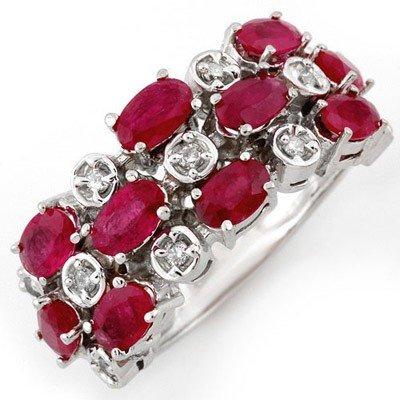 Genuine 3.2 ctw Ruby & Diamond Ring 10K White Gold - L1