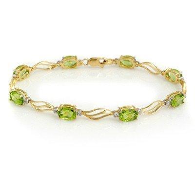 Genuine 7.02 ctw Peridot & Diamond Bracelet Yellow Gold