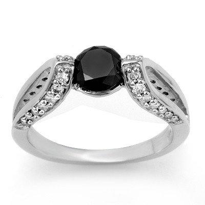 Natural 1.60 ctw Black Diamond Ring 14K White Gold - L2