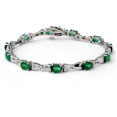 Genuine 6.11 ctw Emerald & Diamond Bracelet 14K Gold -