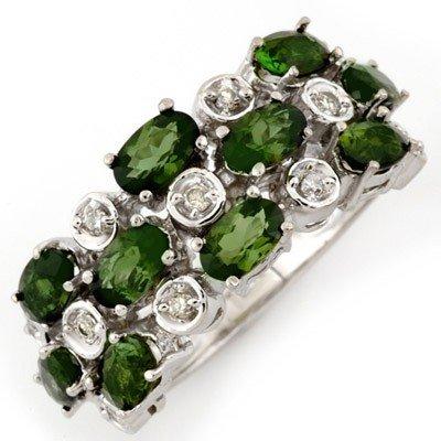 Genuine 3.2 ctw Green Tourmaline & Diamond Ring Gold -