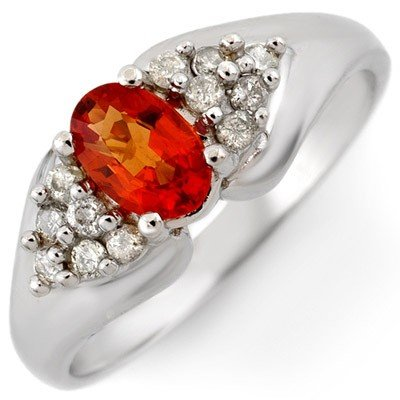 Genuine 0.90 ctw Orange Sapphire & Diamond Ring Gold -