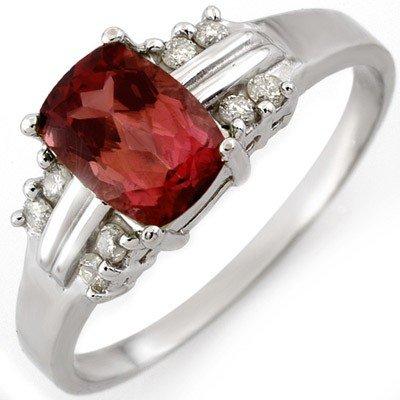 Genuine 1.41ctw Pink Tourmaline & Diamond Ring 10K Gold