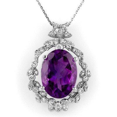 Genuine 12.8 ctw Amethyst & Diamond Necklace 14K Gold -