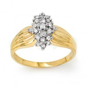 Natural 0.25 Ctw Diamond Ring 10K Yellow Gold - L99716
