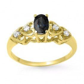 Genuine 0.57 Ctw Sapphire & Diamond Ring 10k Gold - L99