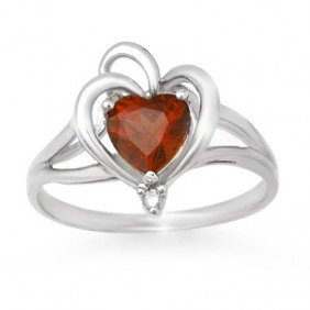 Genuine 0.87 Ctw Garnet & Diamond Ring 10K White Gold -