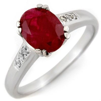 Genuine 1.60 ctw Ruby & Diamond Ring 10K White Gold - L