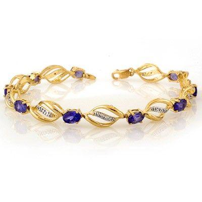Genuine 5.6 ctw Tanzanite & Diamond Bracelet 10K Gold -