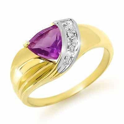 Genuine 1.02ctw Amethyst & Diamond Ring Yellow Gold