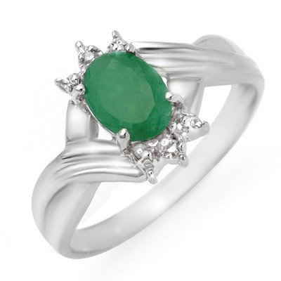 Genuine 0.90 ctw Emerald & Diamond Ring 10K White Gold