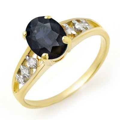 Genuine 1.60 ctw Sapphire & Diamond Ring 10K Yellow Gol