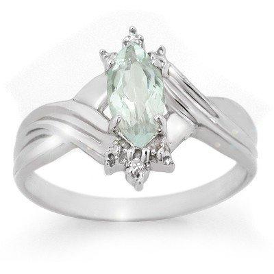 Genuine 0.62 ctw Aquamarine & Diamond Ring 10K Gold