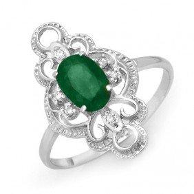 Genuine 0.71 Ctw Emerald & Diamond Ring 10K White Gold