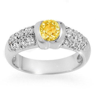 Genuine 1.33 ctw Yellow Sapphire & Diamond Ring 14k Gol