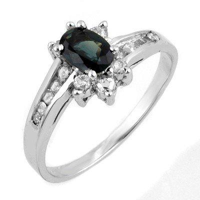 Genuine 1.08 ctw Blue Sapphire & Diamond Ring 10K White