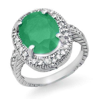 Genuine 2.60 ctw Emerald & Diamond Ring 14K White Gold