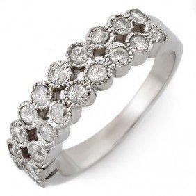 Natural 0.75 Ctw Diamond Bridal Ring 14K White Gold
