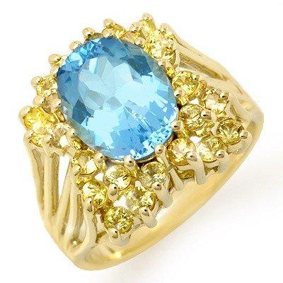 Genuine 6.0 ctw Yellow Sapphire & Blue Topaz Ring Gold