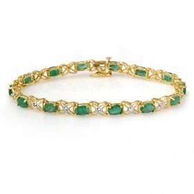 Genuine 6.85 Ctw Emerald & Diamond Bracelet Yellow Gold