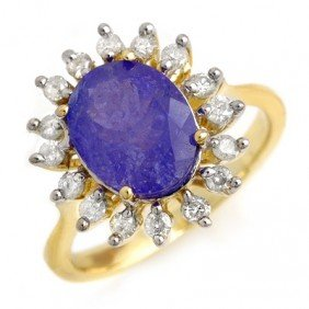 Genuine 3.05ctw Tanzanite & Diamond Ring 10K Yellow Gol