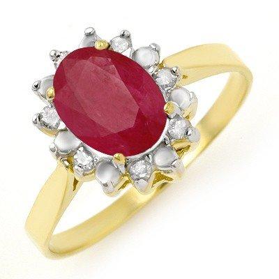 Genuine 1.78 ctw Ruby & Diamond Ring 10K Yellow Gold