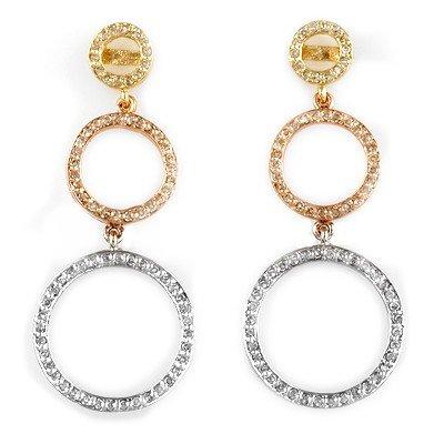 Natural 2.0 ctw Diamond Earrings 14K Multi tone Gold