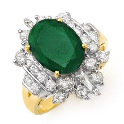 Genuine 4.0 ctw Emerald & Diamond Ring 14K Yellow Gold