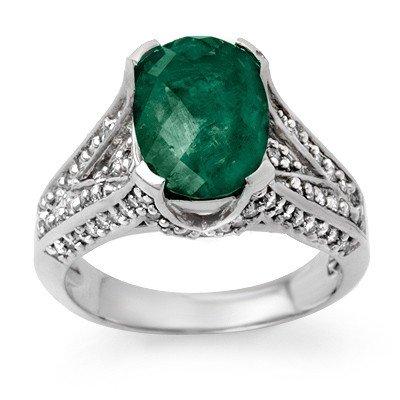 Genuine 4.75 ctw Emerald & Diamond Ring 14K White Gold