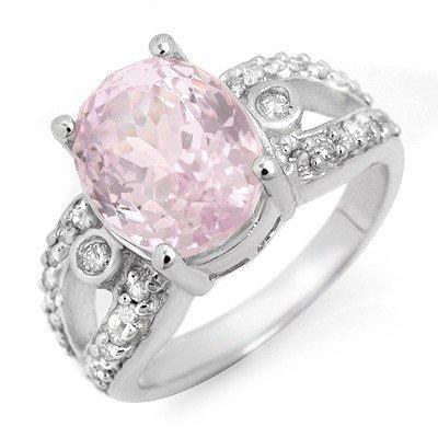 Genuine 6.25 ctw Pink Kunzite & Diamond Ring White Gold