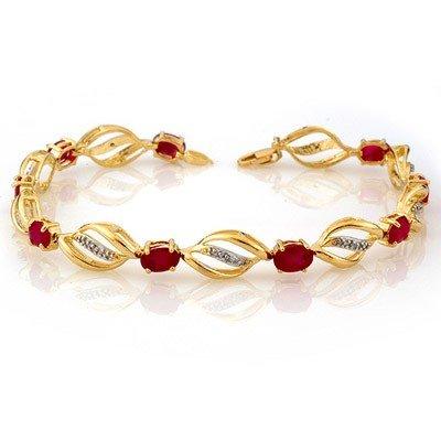 Genuine 5.1 ctw Ruby & Diamond Bracelet Yellow Gold
