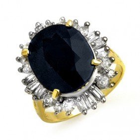 Genuine 10.99 Ctw Sapphire & Diamond Ring 14K Yellow Go