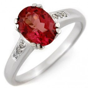 Genuine 1.35ctw Pink Tourmaline & Diamond Ring 10K Gold