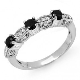 Natural 0.85 Ctw Diamond Ring 14K White Gold