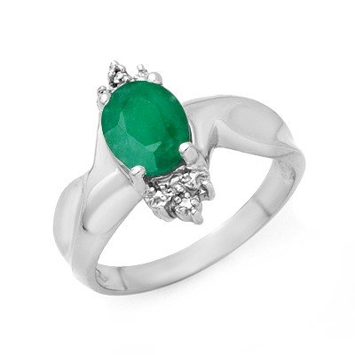 Genuine 1.53 ctw Emerald & Diamond Ring 10K White Gold