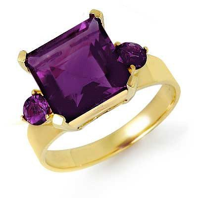 Genuine 4.31 ctw Amethyst Ring 10K Yellow Gold