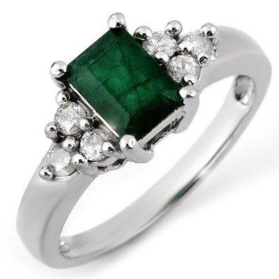 Genuine 1.36 ctw Emerald & Diamond Ring 10K White Gold
