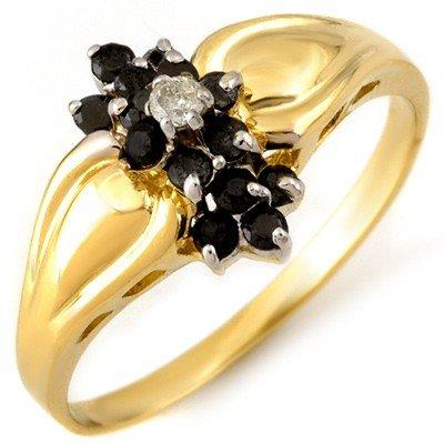 Natural 0.40 ctw White & Black Diamond Ring 10K Gold