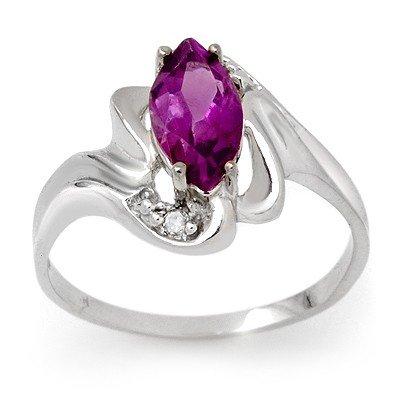 Genuine 2.62 ctw Amethyst & Diamond Ring 10K White Gold
