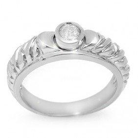 Natural 0.20 Ctw Diamond Bridal Ring 14K White Gold