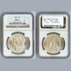 1883 Morgan Silver Dollar Coin NGC MS63