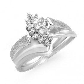 Natural 0.25 Ctw Diamond Ring 14K White Gold