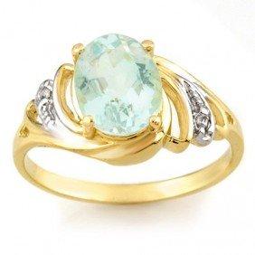 Genuine 2.04 Ctw Aquamarine & Diamond Ring 10K Gold